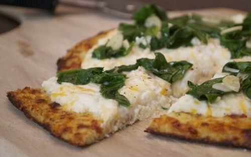 THREE-CHEESE CAULIFLOWER PIZZA